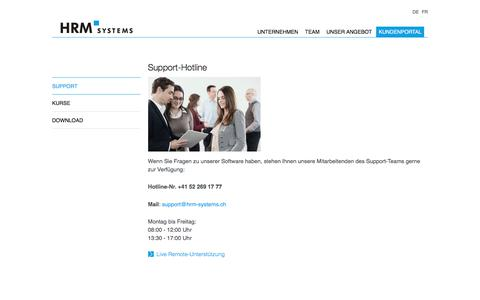 Screenshot of Support Page hrm-systems.ch - Support | HRM Systems AG - captured Sept. 26, 2018