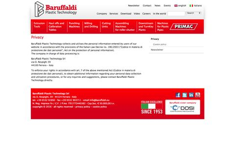 Screenshot of Privacy Page baruffaldi.eu - Privacy | Baruffaldi Plastic Technology S.r.l. - captured Feb. 7, 2016