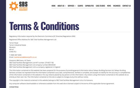 Screenshot of Terms Page sbstotalfm.co.uk - Terms & Conditions - SBS Total Facilities Management - captured July 11, 2018