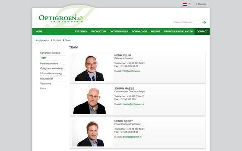 Screenshot of Team Page optigroen.nl - Niederlande Team - systeemoplossingen voor dakbegroening met Optigroen-producten - captured Feb. 17, 2016
