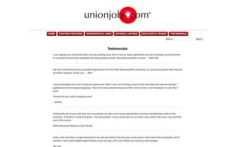 Screenshot of Testimonials Page unionjobs.com - Union Jobs Clearinghouse : Posting Information - captured Sept. 22, 2018