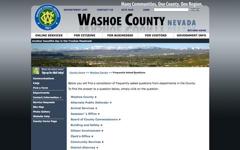 Screenshot of FAQ Page washoecounty.us - Frequently Asked Questions - captured Sept. 23, 2014
