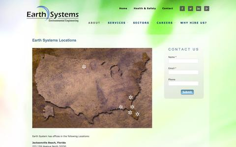 Screenshot of Locations Page earthsys.net - Earth Systems Environmental Consulting and Engineering Firm | Cost-Effective Quality Environmental Science and Services Locations - captured Oct. 1, 2014
