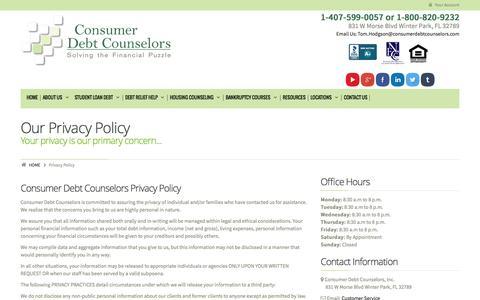 Screenshot of Privacy Page consumerdebtcounselors.org - Privacy PolicyConsumer Debt Counselors - captured Nov. 2, 2014
