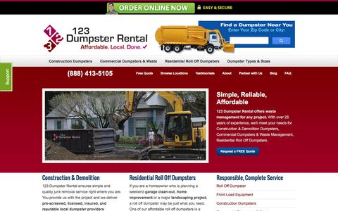 Screenshot of Home Page 123dumpsterrental.com - Commercial, Residential Roll Off, Construction Demolition Dumpsters | Local Dumpster Rentals – (888) 413-5105 Toll Free | 123 Dumpster Rental - captured Aug. 10, 2016