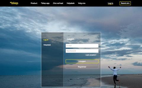 Screenshot of Login Page bliep.nl - *bliep - Jouw simkaart, jouw dagabonnement, jouw keuze - captured Sept. 24, 2014