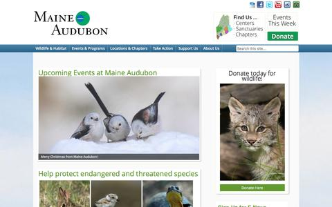 Screenshot of Home Page maineaudubon.org - Maine Audubon   Conserving Maine's wildlife. For everyone. - captured Dec. 21, 2015