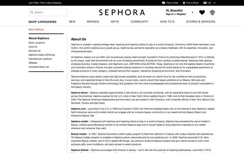 Screenshot of About Page sephora.com - About Us | Sephora - captured March 1, 2017