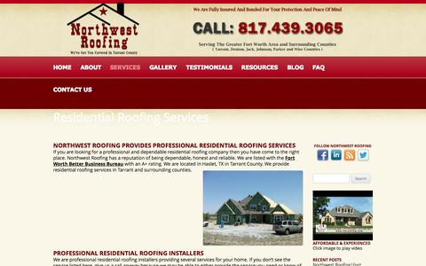 Screenshot of Services Page nwroofing.com - Residential Roofing Services - Northwest Roofing - captured Oct. 26, 2014