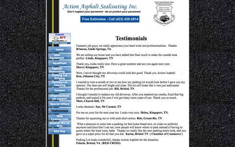 Screenshot of Testimonials Page protectyourpavement.com - Action Asphalt Sealcoating Inc.-Testimonials - captured Nov. 20, 2016