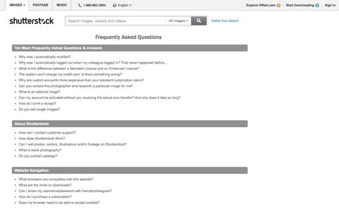 Screenshot of FAQ Page shutterstock.com - Stock Photos, Royalty-Free Images and Vectors - Shutterstock - captured Oct. 23, 2014