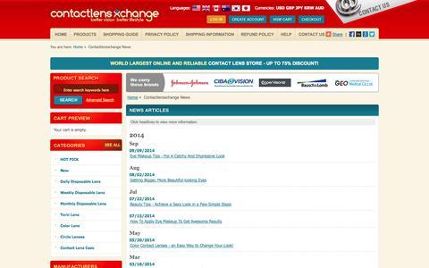 Screenshot of Press Page contactlensxchange.com - Buy Discount Contact Lenses, GEO Nudy, angel, magic color lens Online - captured Oct. 2, 2014
