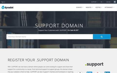 Screenshot of Support Page dynadot.com - .SUPPORT Domain Names : .SUPPORT Domains : New TLDs - captured Dec. 9, 2018