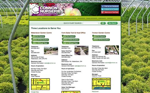 Screenshot of Locations Page connon.ca - Connon Nurseries - captured Oct. 1, 2014