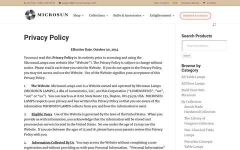 Screenshot of Privacy Page microsunlamps.com - Privacy Policy   Microsun Lamps - captured Dec. 7, 2018