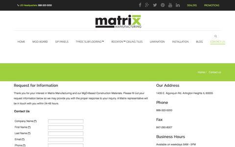 Screenshot of Contact Page matrixmfgusa.com - Contact Matrix Manufacturing USA - captured Oct. 27, 2014