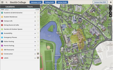 Screenshot of Maps & Directions Page smith.edu - | Smith College - captured June 30, 2019