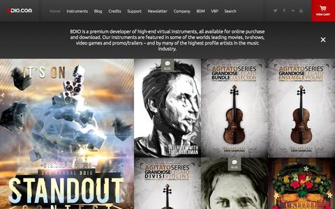 Screenshot of Home Page 8dio.com - VST Virtual Instruments for Kontakt by Award Winning Composers - 8dio - captured Sept. 24, 2014