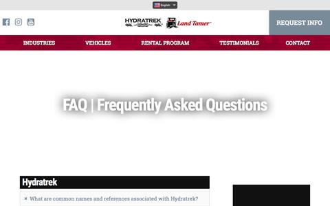 Screenshot of FAQ Page hydratrek.com - FAQ | Amphibious Vehicle Frequently Asked Questions - captured Feb. 26, 2018