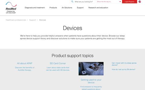 Sleep Apnea Patient Support: Devices | ResMed