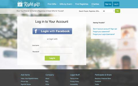 Screenshot of Login Page rightgift.com - Log in to RightGift - RightGift - captured June 14, 2017