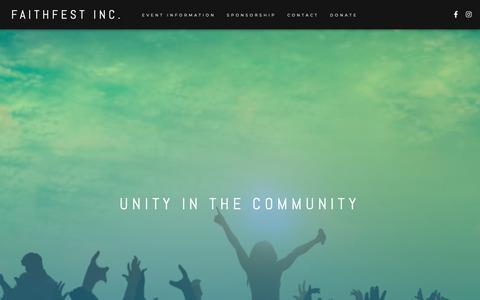 Screenshot of Home Page faith-fest.com - FaithFest Inc.  – Unity In The Community - captured June 8, 2019