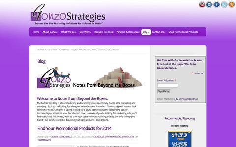 Screenshot of Blog gonzostrategies.com - Fort Worth Beyond the Box Marketing Blog  Gonzo Strategies Gonzo Strategies - captured Sept. 30, 2014