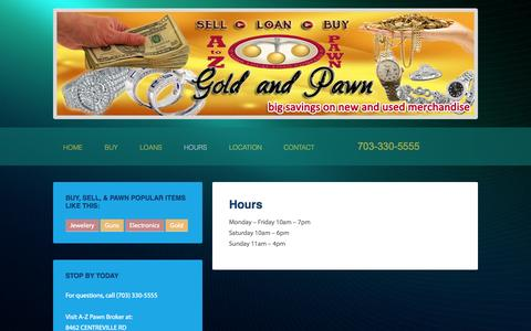 Screenshot of Hours Page atozpawnmanassas.com - Hours — A to Z Pawn - captured Oct. 3, 2014