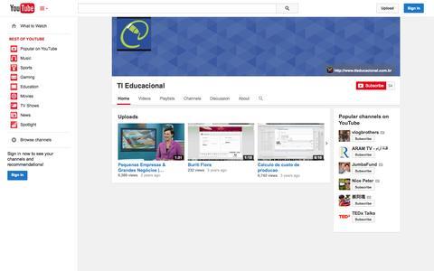Screenshot of YouTube Page youtube.com - TI Educacional  - YouTube - captured Oct. 26, 2014