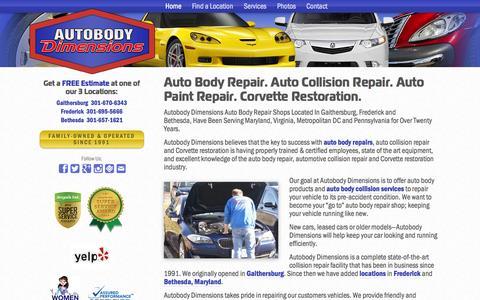 Screenshot of Home Page autobodydimensions.com - Auto Body Repair-Gaithersburg, Frederick, Bethesda - captured June 17, 2015