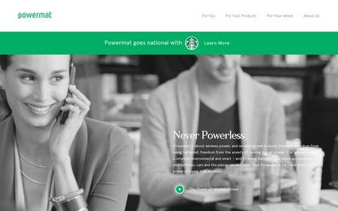 Screenshot of Home Page powermat.com - Powermat | Enter the world of Wireless Charging - captured July 11, 2014