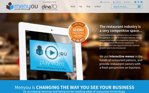 Screenshot of Home Page menyou.ca - Your Order, Your Way with Interactive Menus - captured Oct. 6, 2014