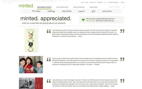 Screenshot of Testimonials Page minted.com - Minted.com: Wedding Invitations, Party Invitations, Baby Shower, Birthday & Save The Date Cards - captured Sept. 16, 2014