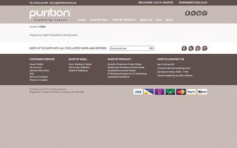 Screenshot of FAQ Page purition.co.uk - FAQs - captured Oct. 3, 2014