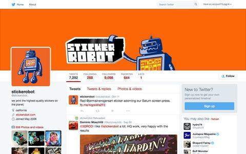 Screenshot of Twitter Page twitter.com - stickerobot (@stickerobot) | Twitter - captured Oct. 15, 2015
