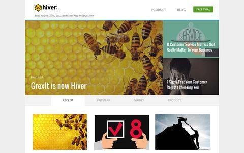 Screenshot of Blog hiverhq.com - Hiver Blog - captured Sept. 27, 2015