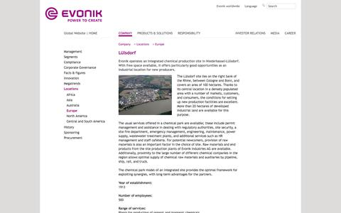 Sites - Lülsdorf (Germany) - Evonik Industries - Specialty Chemicals