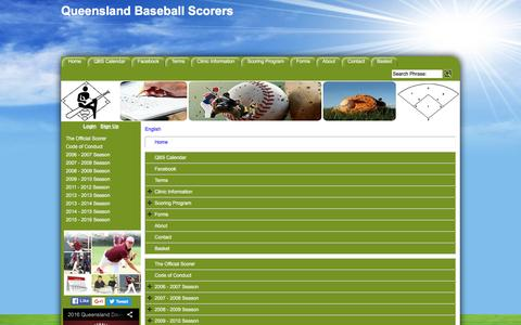 Screenshot of Site Map Page Menu Page qldbaseballscorers.com - Map - captured May 23, 2016