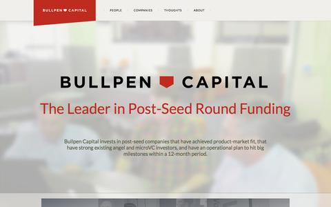 Screenshot of Home Page bullpencap.com - Bullpen Capital – The Leader in Post-Seed Round Funding - captured Oct. 5, 2014