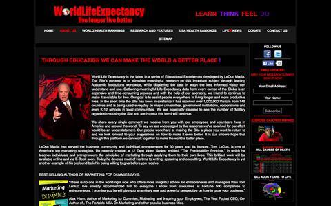 Screenshot of About Page worldlifeexpectancy.com - Life Expectancy - captured Nov. 2, 2014
