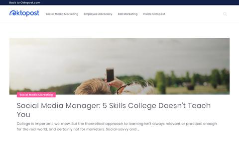 Screenshot of Blog oktopost.com - The Oktopost Blog - B2B Marketing Strategy and Thought Leadership - captured June 15, 2018