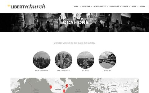 Screenshot of Services Page Locations Page libertychurch.com - Locations | Liberty Church - captured July 10, 2018