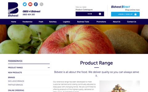 Screenshot of Products Page bidvest.co.nz - Bidvest - Wholesale Foodservice Distributors. Product range. - captured Nov. 3, 2014