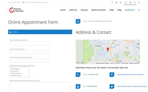 Screenshot of Contact Page shaping-change.com - Contact Us - Shaping Change - captured Nov. 15, 2017