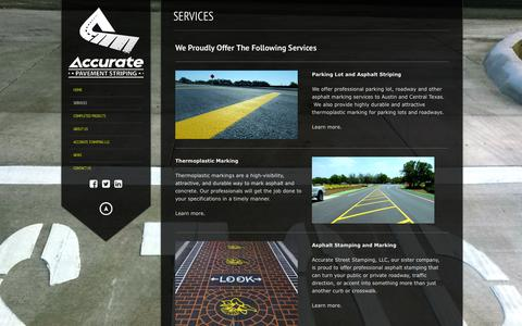 Screenshot of Services Page accuratepavementstriping.com - Accurate Pavement Striping | Services | Accurate Pavement Striping - captured Jan. 23, 2016