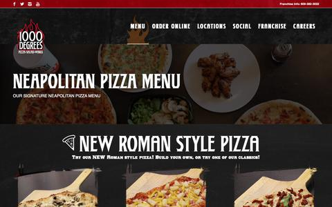 Screenshot of Menu Page 1000degreespizza.com - Menu - 1000 Degrees Neapolitan Pizza Franchise Fast Casual Pizzeria Franchises - captured Nov. 22, 2018