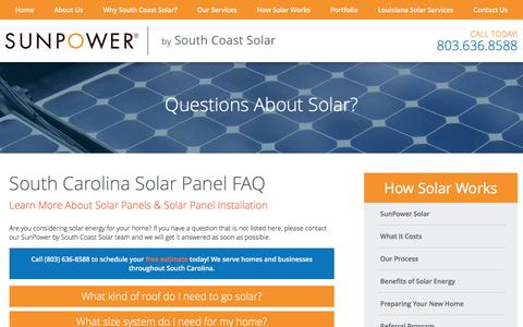 Screenshot of FAQ Page southcoastsolar.com - Solar FAQ | South Carolina Solar Installation Experts - captured Dec. 15, 2016