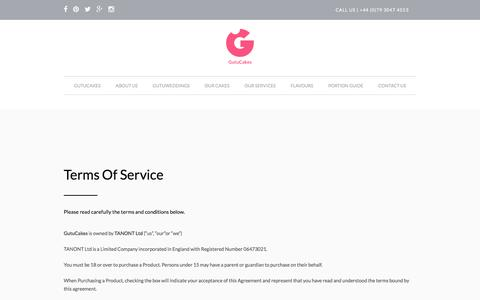 Screenshot of Terms Page gutucakes.com - Terms Of Service - GutuCakes - captured July 19, 2016