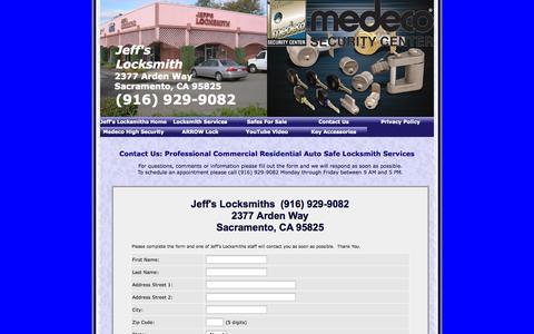 Screenshot of Privacy Page Contact Page jeffslocksmiths.com - Jeff's Locksmiths 2377 Arden Way 916 929-9082 Sacramento CA - captured Sept. 30, 2014