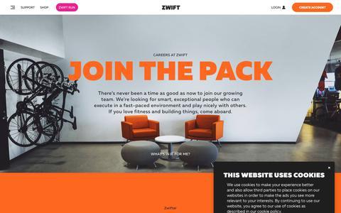 Screenshot of Jobs Page zwift.com - Zwift - captured Oct. 20, 2018